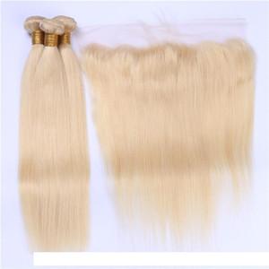 Шелковистые прямые Бразильские блондинки человеческие пачки волос с лобным закрытием # 613 Bleach Blonde Virgin Hair Frontal Frontal с ткачами Weave