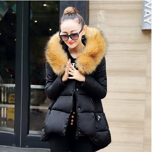 Winter Coat Women Fashion Coats Jacket Cloak Design Plus Size Thicken Large Faux Fur Collar Candy Color Cotton XC052