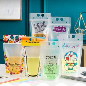 색상 음료 파우치 가방 젖 빛 음료 가방 과일 주스 밀크 티 액체 가방 450 ml 지퍼 스탠드 업 플라스틱 음주 가방