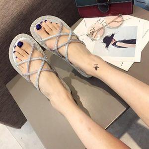 Goddess2019 Xia Sandali Donna Baida Studente Strass Toe Fondo piatto Late Night Wind Tender Shoe