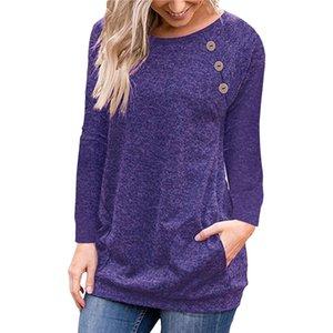 여성 가을 긴 소매 톱 기본 셔츠 일반 캐주얼 포켓 티 셔츠 팜므 여성 버튼 하라주쿠 T 셔츠 기본 우아한 티셔츠