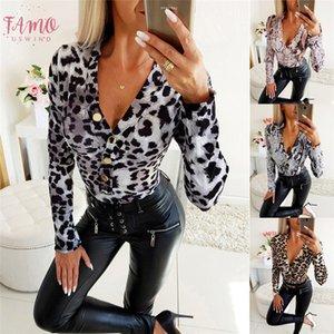 Women Ol Leopard Print Deep V Neck Long Sleeve Shirt Blouses Tops Clubwear Slim Fit Button Down Blouse Bodycon Shirt New