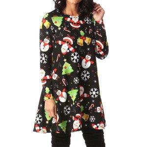 Femmes Robe de Noël Mesdames Mini robes de Santa cerfs communs modèle à manches longues robe du Nouvel An Femmes Robes Soirée Vêtements