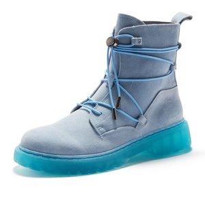 Harajuku Erkek Kış Yüksek Üst İnek Süet Deri Bilek Boots Lace Up İş Güvenliği Ayakkabıları Yeni Vintage Biker Motosiklet Binme Boots
