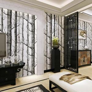 Wholesale- Nordic Forest Nonwoven Wallpaper Birch Tree Rustic Modern Minimalist Black White Roll Wall Sticker