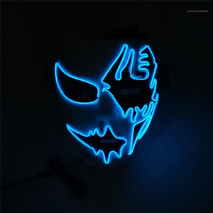 Free Size Halloween Mask Street Dance Hand Painted Funny Dress Party LED Luminous Mask Unisex And