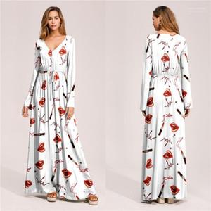 Kadın Bohemian Elbiseler Tasarımcı Bölünmüş Yaz Plaj Uzun Elbise Uzun Kollu Bayan Tatil Elbise Flora Baskılı