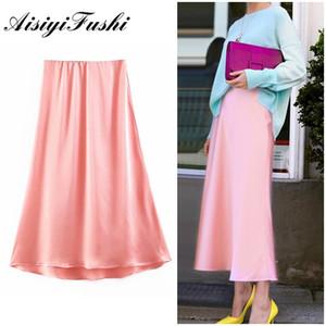 AISIYIFUSHI Весна новинка розовый порошок длинные юбки гладкие атласные качественные юбки High Street половина длины эластичные женские юбки