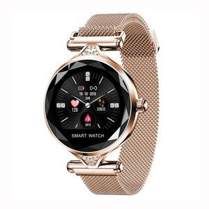 Di lusso Mesh Smart Watch Donna Bluetooth Monitor di frequenza cardiaca Blood Pressure Fitness Tracker Ladies Smartwatch per IOS Android H1