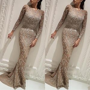 Yousef Aljasmi Charbel Zoe Keyhole Boyun Uzun kollu Gelinlik Modelleri 2019 Lüks Kristaller Altın Akşam elbise Zuhair murad Balo Abiye BC0704