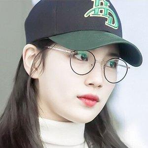 Round myopia round face frame optical literary fashion Men's plain glasses metal glasses frame women 0715