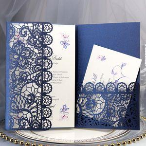 Bleu foncé dentelle Invitations de mariage élégant Laser Cut Trifold de poche cartes d'invitation pour Quinceanera engagement de fête de bateau libre