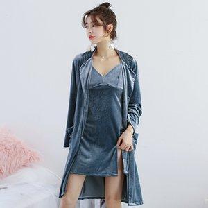 MECHCITIZ 2019 Automne Robe Robe Ensembles pour Femmes Vêtements De Nuit Sexy Velours Robes Demoiselle D'honneur De Mariage Peignoirs Accueil Vêtements Lounge Sets