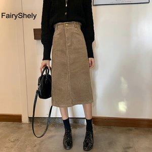 FairyShely Vintage Uzun Etek Bayan 2020 Kadife Bölünmüş Etekler Elegant Kore Stil Moda Cep Yüksek Bel Midi Etek Femme CX200703