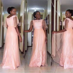 Cheap Half Sleeves Pink Prom Dresses 2020 Tulle Scoop Neck Evening Dress For Women Pink vestidos de fiesta de noche