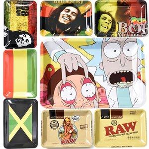 Ucuz Metal Rolling Tepsi Bob Marley RAW 180 * 125 mm Tütün Karikatür Rulo Tepsileri El Merdane Sigara Aksesuarları Sigara araçları