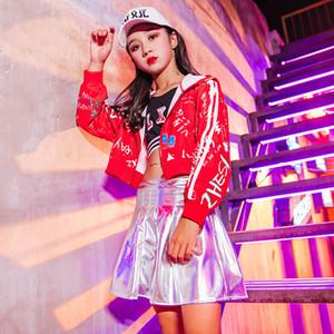 110-180cm Pour Enfants Costumes Jazz Dance Kids Cheerleader Veste à capuche jupe courte filles Hip Hop Street Dance Costumes DWY2698