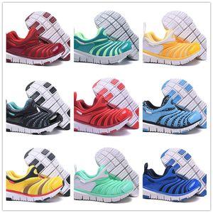 Com Caixa de 2019 Crianças Lagartas Sapatos de Corrida Verde Meninos azul Sneakers Meninas amarelo Sapatos de caminhada Crianças formadores vermelho juventude UE Tamanho 22-35