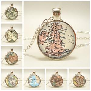 New Globe Dome Halskette Earth World Map Anhänger Glaskette Schmuck Großbritannien Vintage Map Handmade Halskette
