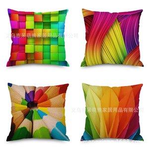 Rainbow Picture Льняная подушка Имитировать Hold Ma Наволочка Автомобильный диван Назад Подушка Подушка Прикроватная спинка подушки