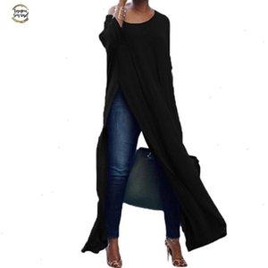 Kadın Sonbahar Seksi Bluzlar Uzun Kollu, Off The Omuz Pamuk Katı Bölünmüş Bluz Bayan blusas Casual Uzun Shirt