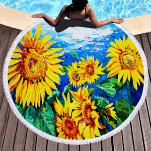 Sunflower tassel round beach towel 3D printed flowers camping picnic carpet colorful sunflowers Air-conditioning blanket with tassel A07