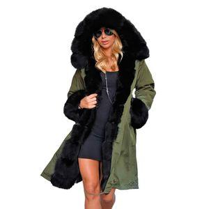 Kadınlar Sahte kürk ceket Moda Kış Yeni İnce Orta Uzun Dişiler Parkas kalın Sıcak Pamuk Coat Kapşonlu Büyük Kürk Yaka