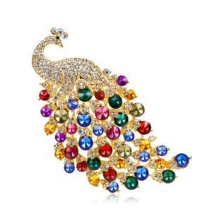 Grande Taille Coloré Alliage Cristal Strass Peacock Broche Chaleur Vendre Bijoux Broche Accessoires Concurrentiel Bijoux Broche