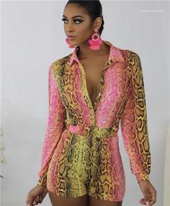 Calças soltas Night Club Estilo Moda Roupa Mulheres Verão Leopard Print Sexy Macacões V pescoço curto