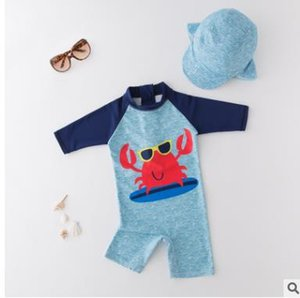Summer Baby Boy Clothing Swimwear+Hat 2pcs Sets Crab sky blue beach suit Bathing Clothes Retail