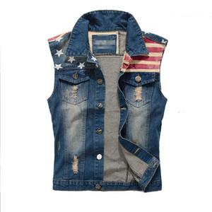 Markemens-Denim-Weste Männer Cowboy Ripped Ärmel Vintage-Jacke Behälter Frühling Usa Flag gewaschene Jeans-Weste plus Größe M-5XL