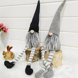 Ornamento del gorra de rayas nueva Navidad sin rostro Muñeca sueca Nordic Gnome Viejo muñecas de juguete árbol de Navidad colgante de la decoración del hogar WX9-1783