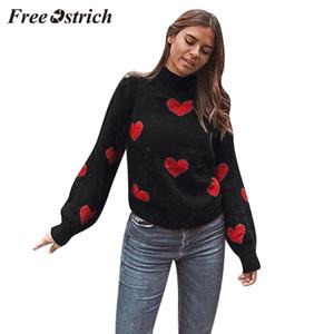 FREE OSTRICH Suéter de punto moda invierno mujer casual personalidad gran tamaño amor estampado o cuello manga larga perezoso suéter flojo