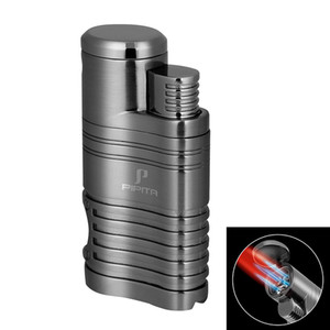 PIPITA Cigar Lighter Quad Jet Red Flame Torch Refillable Metal Lighters w Punch Windproof Cigarettes Butane Torch Lighter
