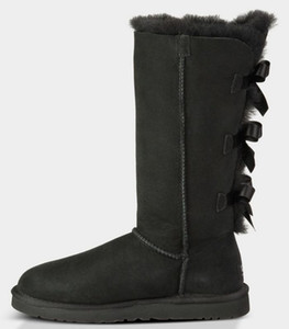 женщины зима снег сапоги Австралии классический короткий лук сапоги дизайнеруггилодыжка колено лук девушка мини Bailey ботинок Bottes де Neige налить