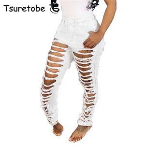 Tsuretobe Sexy White Hole Jeans Rasgado Mulher Magro Cintura Alta Denim Calças Lápis Senhora Moda Bodycon Calças Femininas