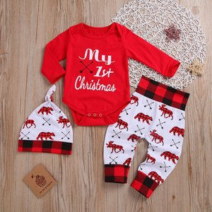 New Baby Boys Girls Christmas First Clothes Spring Autumn Casual Long Sleeve Romper Trousers Hat Outfit Set Newborn Infant