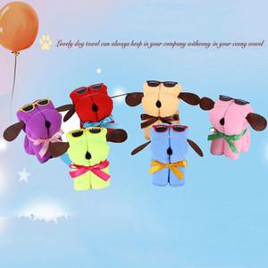 Förderung-Geschenk-Karikatur-netter Hund geformt 20 * 20cm Baumwolltuch Festival Wedding Gift Fest Farbe Mikrofasertücher mit PVC-Box DH0928 T03