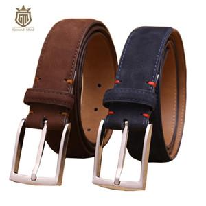 primera capa de piel de vaca nobuck correa de cuero de diseño de alta calidad similar a la gamuza de cuero genuino para el vestido / T200113 negocio de los hombres de lujo