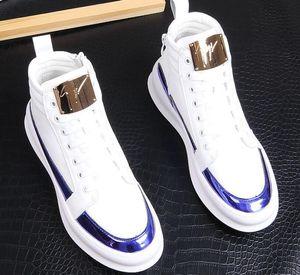 Hoja de metal ocasionales de la plataforma del top del alto zapatos de los planos masculino diseñador vestido de fiesta zapatos de los holgazanes de la nueva llegada del tobillo botas de lentejuelas zapatos hombre