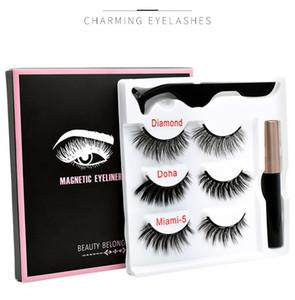 New Falso Magnetic pestana Eyeliner Magnet pestana Set 3 pares de Magnetic Cílios + Eyeliner + pinça 3set frete grátis