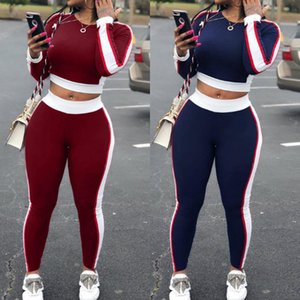 Sportsuits Women Autumn Fitness Workout Two Pice Set Striped Cropped Shirt + Sweatpants Outfits Female Winter Suit Sportwear D30 T200408