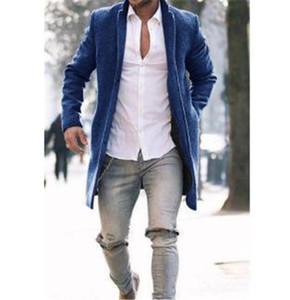 Роскошные мужские дизайнерские зимние пальто мода отворотки шеи с длинным рукавом шерстяные смеси вскользь мужчины верхняя одежда с кнопкой
