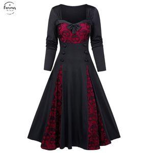 2020 Fall Gothic Dress Women Plus Size 5Xl Hallen Skaleon Sempt Bowknot Wine Red Black Green Purple Tunic G7