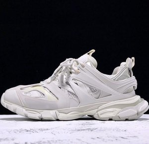 Pure White Paris Pista 3,0 Tess Homens Mulheres Triple S Runner Casual Shoes Clunky Sneaker Gris malha respirável pai Alpercatas Shoe
