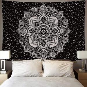95 * 73 centímetros Índia Mandala Tapestry Wall Hanging Sandy Beach Recados pano Tapeçarias Hippie psicadélico Lua da noite Tapestry Mandala tapete de parede