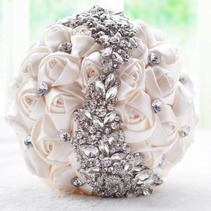 2019 Artificielle Satin Rose De Mariée Bouquet De Mariage De Mariage Décoration Cristaux Fleur Artificielle Demoiselle D'honneur De Mariée Main Tenant Broche Flowe