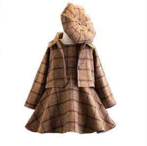 2018 nouvelle mode 3 pièces bébé filles vêtements ensemble manteau robe de bal robe chapeau automne hiver mode enfants Costume à carreaux vêtements
