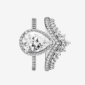 Princess Wishing Ring Teardrop Anneaux de larmes Set Top Mode 925 Sterling Argent Sterling Femmes Bijoux de mariage CZ Diamant Bague avec boîte originale