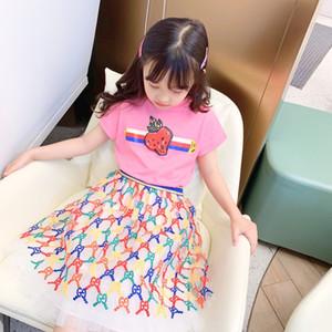 camicia estate delle ragazze nuovo modo di trasporto libero + tutu vestito estate del pannello esterno della neonata e top insiemi dei vestiti dei capretti di estate